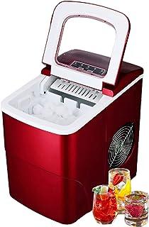 Leise Eiswürfelmaschine, Tragbar Eiswürfelbereiter für Zuhause und Bar, 9 Eiswürfel in 6 Mins, 12kg/24h, 2L Wassertank, 2 Bulletförmige Größen, Wasserknappheit und voller Eis Indikator(Rote Ice Maker)