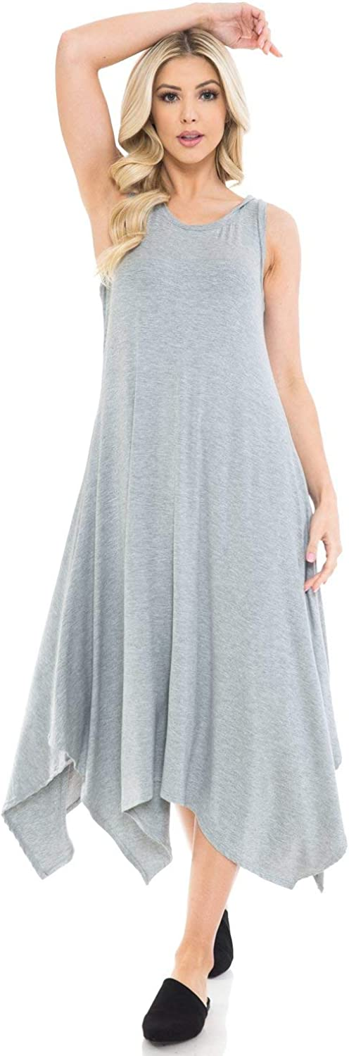 iconic luxe Women's Sleeveless Midi Fixed price for sale Asymmetric Hem Cash special price Dress with
