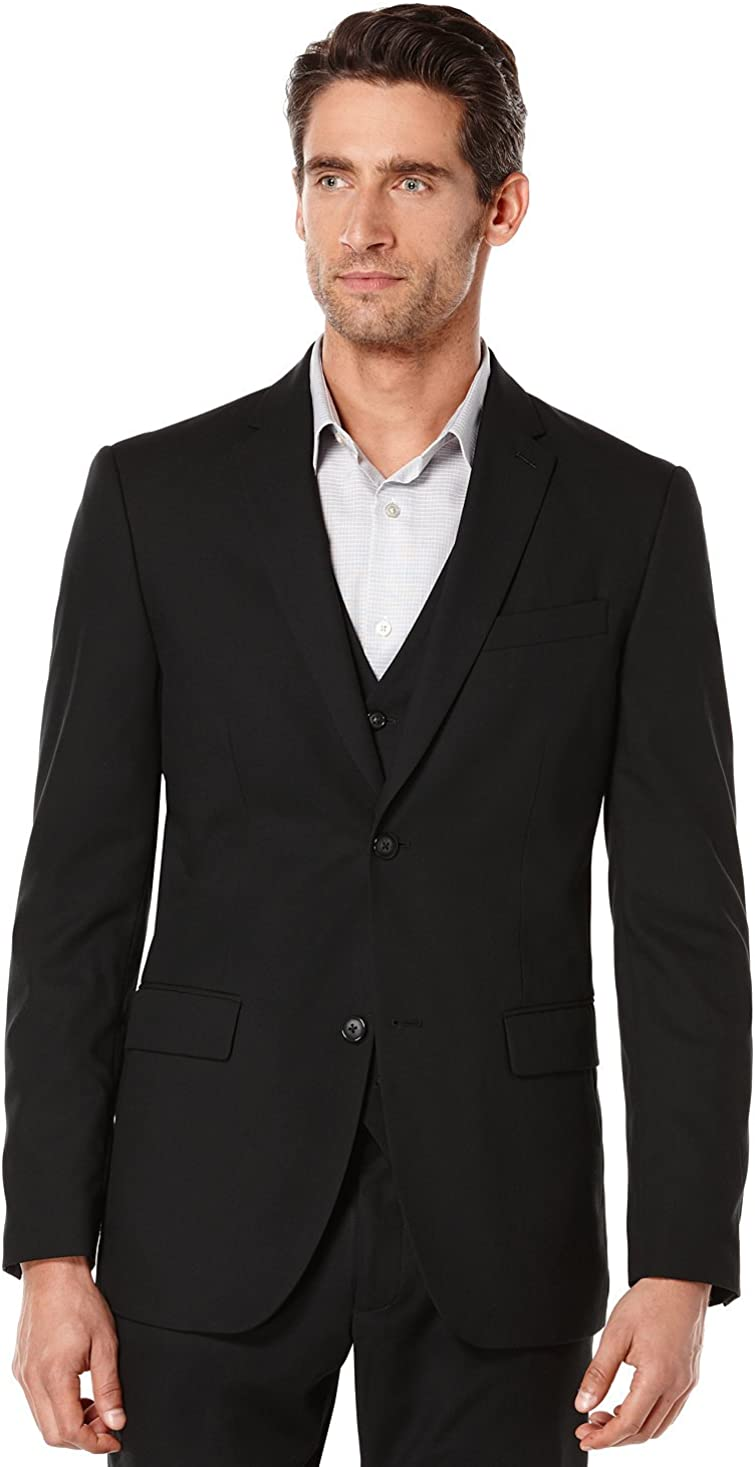 Perry Ellis Men's Shadow-Striped Lined Two-Button Suit Jacket Black