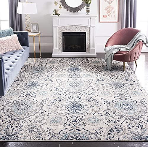 Patterned persian rug with whites, grays and blues