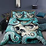 Feelyou Octopus Duvet Cover Set King Size Skull Bedding Set 3D Print Blue Decorative Luxury Horror Microfiber Polyester Comforter Cover with 2 Pillow Shams, Zipper, Marine Life, 3 Pieces