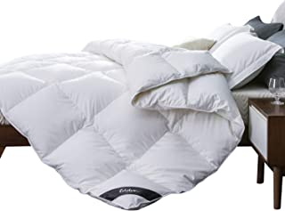Globon White Goose Down Comforter King Size, Medium Warmth All Season, 35oz,700 Fill Power, 400 Thread Count Hypoallergenic 100% Cotton Shell, with Corner Tabs, Solid White