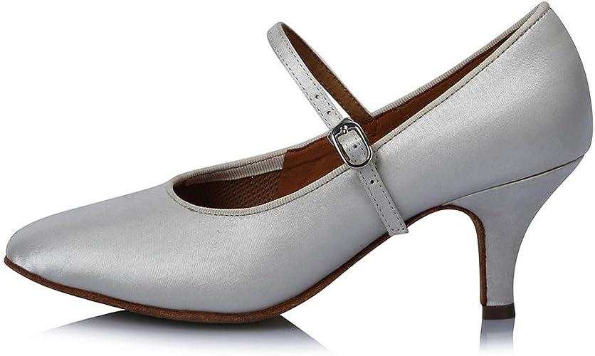 YFF Toe fermé professionnel Chaussures de Danse Moderne de bal en cuir Chaussures de Danse Tango Salsa Party danse latine Chaussures femmes filles ,63mm 30607,5