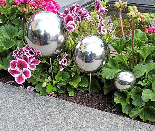 Pflanzstecker 3er Set aus Edelstahl poliert Beetstecker Gartenstecker