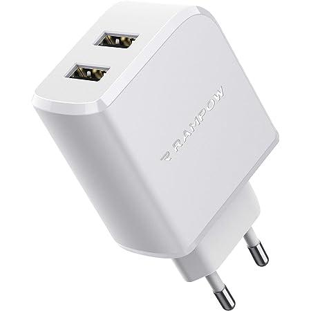 RAMPOW Chargeur Secteur USB 24W 2 Ports Chargeur USB Prise avec Technologie Power IG pour iPhone 6/7/8/X/XR/XS, iPad Pro/Air, Samsung S10/S9/S8, Xiaomi, LG, Nexus - Blanc
