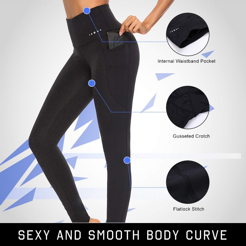 FeelinGirl Womens High Waist Yoga Pants Inner Pocket Non See-Through