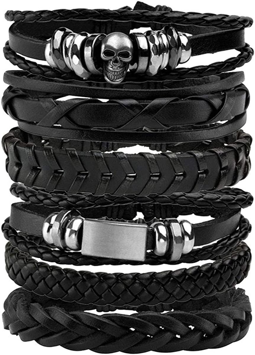 Eigso Department store PU Leather Handmade Bracelets Cuff for Max 60% OFF Wristband Wrap Men