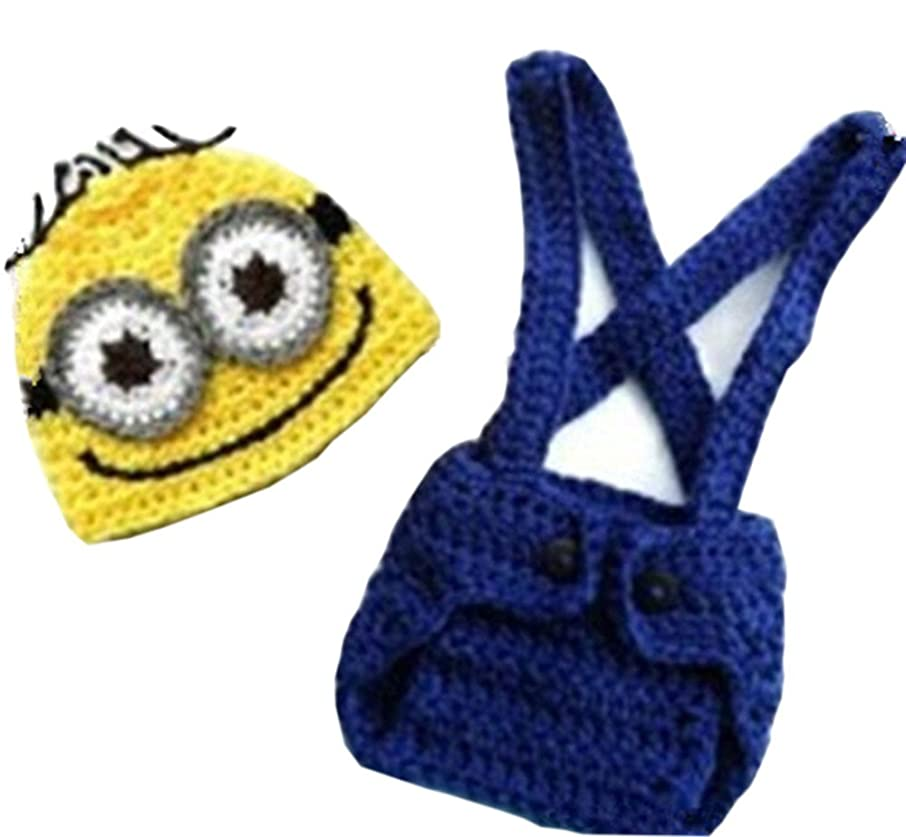 Pinbo? Baby Crochet Despicable Me Hat Diaper Minion Costume Photography Prop