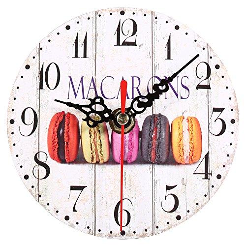 Yosoo Horloge Murale Ronde Numérique en Bois Pendule Murale Vintage Décor Cuisine Horloge Digitale Style Européen (6#)