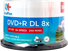 AcePlus 50-Pack Dual Layer DVD+R Discs with White Inkjet Printable Surface, 8.5 GB of Data and 8X Recording Speed in Cakebox