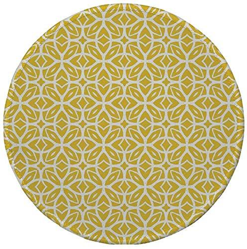 Rutschfreies Gummi-Rundmauspad, gelb und weiß, geometrisches Kunstmuster mit Schnürungsformen, Frühlingsmode im Stil der 30er Jahre, erdgelbweiß, 7.9x7.9x3MM