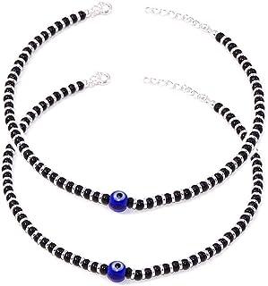 DARSHRAJ 925 Sterling Silver Evil Eye Ball Nazariya Anklet For Girls & Women (Payal), Free Size, (Weight- 12GM)