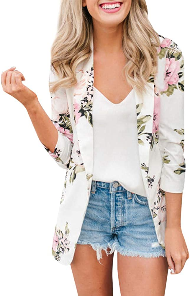 Balakie 2021 Womens Retro Floral Print Blazer Jacket Zipper Pocket Casual Coat Outwear