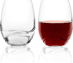 Stemless Bohemian Crystal Wine Glasses - By Bar Amigos TURBULENCE Deluxe Decanting Special Unique Wave Shaped Design For Better Aeration 500ML / 17.6 ounce   Set of 2