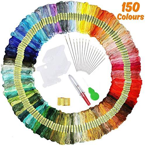 【150 Madejas】 Hilos de Bordado, elloLife Bordado Kit con 12 Tablero Blanco de la Bobina para Organizar Hilos Punto Cruz Hacer Pulsera de la Amistad Punto de Manualidades Costura, Colores Arco Iris