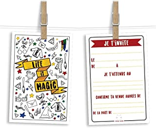 6 cartes et enveloppes invitation anniversaire   Anniversaire fille ou garçon   Thème inspiré de Harry Potter (en françai...