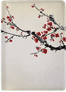 Realistic Sakura Blossom Birds Blocking Print Passport Holder Cover Case Travel Luggage Passport Wallet Card Holder Made with Leather for Men Women Kids Family