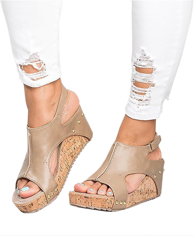 WO-STAR Women Sandals Peep Toe PU Belt Buckle Rivet Blocking Hook-Loop Wedges Sandals Summer shoes