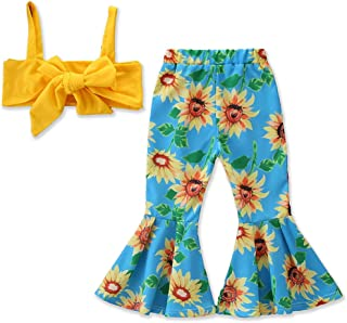 Toddler Kids Girls Ruffle Strap Tank Tops+Geometric Wide Leg Pants Outfit Summer Clothes Two Piece Set