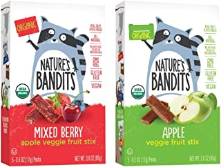 Nature's Bandits Organic Fruit & Veggie Stix, Variety Pack (Mixed Berry & Apple), 0.6 Ounce 5 Pack (2 Count) Gluten Free, ...