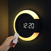 ساعة موود لايت ثنائية المرآة من موز، 7 ألوان إضاءة ليلية، 2 لون LED (أبيض/برتقالي)، إضاءة LED قابلة للتعديل، وضع 12/24 ساع...