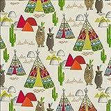 Fester Baumwollstoff/LARS/Indianerbären, Tipis,