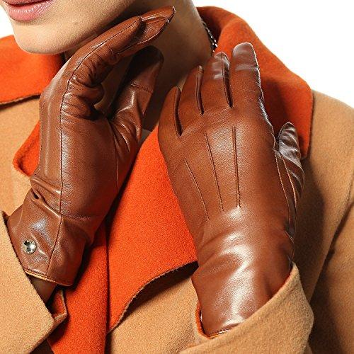 Elma Women's Touch Screen Italian Nappa Leather Winter Texting Gloves (8, Saddle yellow)