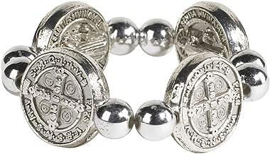 Christian Brands Catholic Saint Benedict Protection Medal Stretchable Elastic Ring