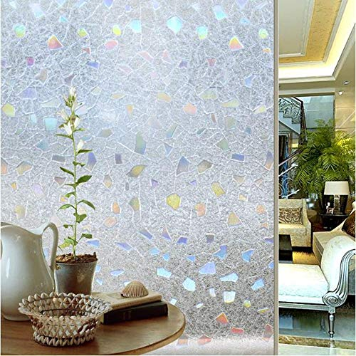 klkll Fensterfolie 3D Static Cling UV-Fenster Film Anti Privacy Decal Sonnenschutzglas Fenster Abstraktes Design Vinyl Film-50x100cm