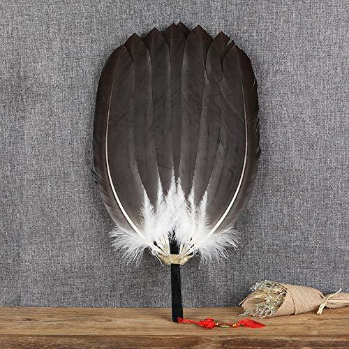 plzxy Federfächer Handgemachte antike Handwerk Fan Loch Fan chinesische Wind Gans Fan Fan@Gehörnter Adler