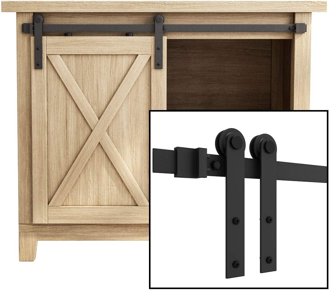 Home Mini Sliding Barn Door Hardware Cabinet Hanging Rail Set Household Supplies