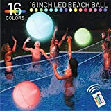 EYEWALK Pool Toys 16' LED Glow Beach Ball Toy with 16 Color Changing Lights, Glow in Dark Party Supplies, Black Lights for Glow Pool Beach Party Outdoor Games for Teens Adults Family (1PC)