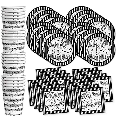 Music Notes Birthday Party Supplies Set Plates Napkins Cups Tableware Kit for 16