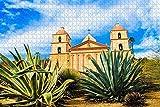 Awttmua Santa Barbara Church USA Puzzles para Adultos 1000 Piezas Regalo De Viaje De Madera Recuerdo