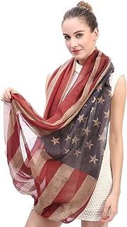 Vintage American Flag Scarf, Unisex Fashion Premium Patriotic, Infinity Shawl Scarf