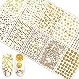 Fanoshon Gold Nail Art Stickers Self Adhesive Decals for Women Girls False Acrylic Nails, 600+ Metallic Foil Butterfly Flower Stars Heart Lines Letters Nail Charm Decor for Fingernail Toenail Manicure
