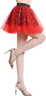 BeryLove Damen Tüllrock Mini Tanzrock Festliche Glitzernd Pailletten Petticoat