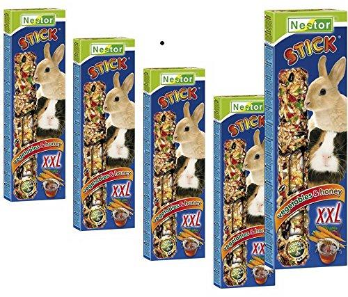 NESTOR Lot de 5 friandises pour cochon d'Inde et lapin - 2 bâtons à grignoter XXL - Légumes et miel