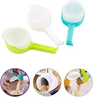 Bag Clip Pour Seal Pour Food Storage Bag Clip Food Clip Snack Food Sealing Clip Moisture Sealing Clamp with Large Discharge Nozzle for Storage Food Kitchen Organization(White/Blue/Green)