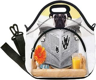 断熱ランチバッグ ネオプレンランチトートバッグ パグの写真 ピュアブレッドパピー ルーズカラー かわいい犬 ペット 動物装飾 ペールブラウンブラック 大人と子供用 12.6x6.3x12.6inches ADTY_KDWCB_16122_K32xG32xH16