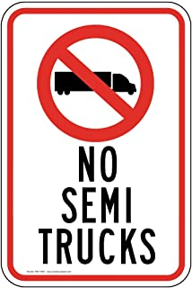 No Semi Trucks Reflective Sign, White Reflective, 18x12 inch on 80 mil Aluminum by ComplianceSigns