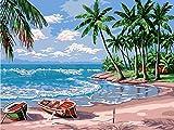 COTTONIX Dipingere con i Numeri Adulti Bambini, Kit Fai da Te per Pittura a Olio su Tela con pennelli e Tavolo da Disegno, Artigianato per la Decorazione della Parete di casa - Spiaggia (40x50 cm)