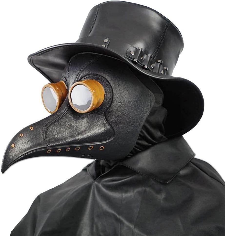 Creepy Party Doctor de la Peste Máscara Negro Remache Nariz Larga Máscaras Steampunk Disfraz para Fiesta de Halloween Cosplay de Carnaval