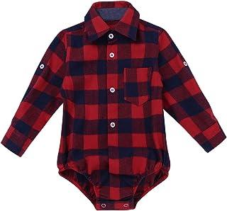 iEFiEL Baby Mädchen Jungen Body Kurzarm/Langarm Bodysuit Baumwolle Strampler Kariertes Hemd mit Kragen Kleinkinder Freizeithemd Shirt