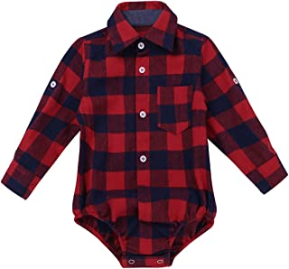 Toddler Boys Plaid Short Long Sleeve Button-up Bodysuit Formal Dress Shirt Baby Gentleman Romper Wedding Party Outfits