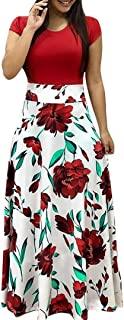 Womens Floral Printed Maxi Dress Casual Short Sleeve/Long Sleeve Party Long Swing Dress