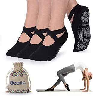 Yoga Socks for Women Non-Slip Grips & Straps, Ideal for Pilates, Pure Barre, Ballet,..