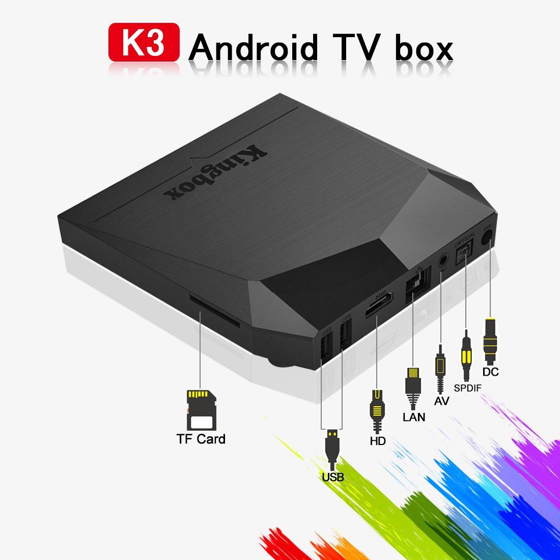 kingbox Android TV Box, K3 Android 6.0 caja con Amlogic S912 64 bits de ocho núcleos 2 gb/16gb apoyo Dual Wifi 2,4 + 5 GHz/4 K UHD/BT 4.0/1000 m LAN Android Smart