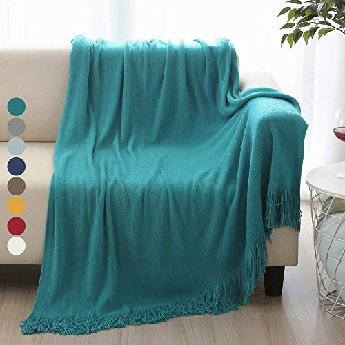 "Battilo Solid Blanket Cross Woven Couch Throw Knitted Blanket with Decorative Fringe Lightweight for Bed or Sofa Decorative (Aqua, 51"" x 59"")"