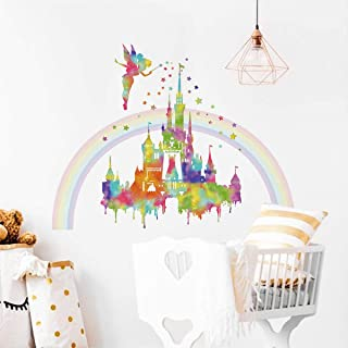 decalmile Watercolor Rainbow Castle Wall Stickers Fairy Princess Wall Decals Girls Bedroom Baby Nursery Wall Decor